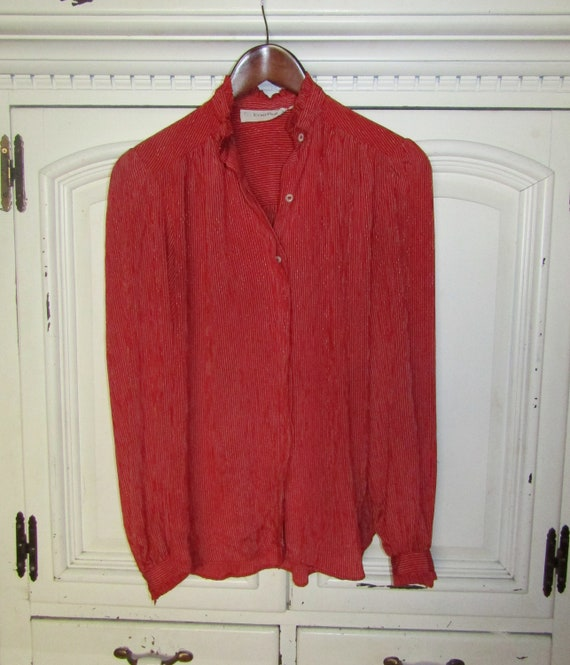Vintage 1980/'s Satin Red Evan Picone Blouse Thin White Stripe Woven Design Poly Blend Long Sleeved Ruffle