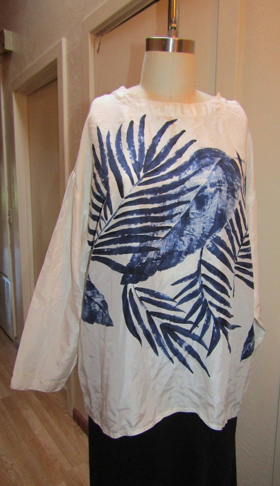 Vintage 1970's 1980's Silk Peasant Blouse Boho Whi
