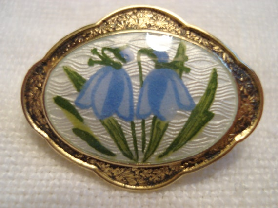 AJ Gold Filled Guilloche Pansy Brooch and Scandin… - image 2