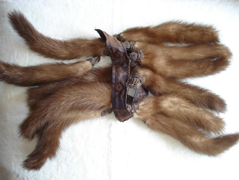 Mink Tail Tassel Fringe Trim Remnant As is 12 tails total
