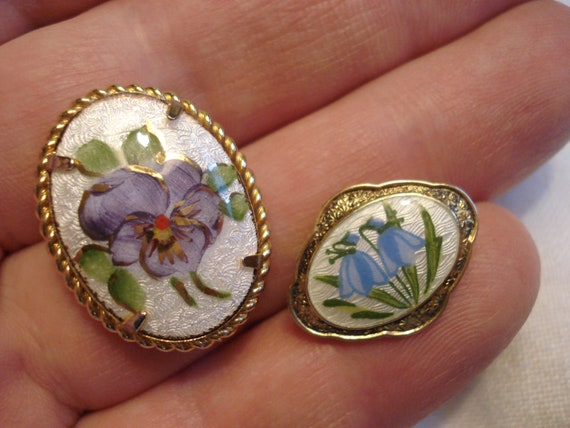 AJ Gold Filled Guilloche Pansy Brooch and Scandin… - image 9