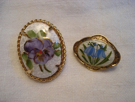 AJ Gold Filled Guilloche Pansy Brooch and Scandin… - image 1