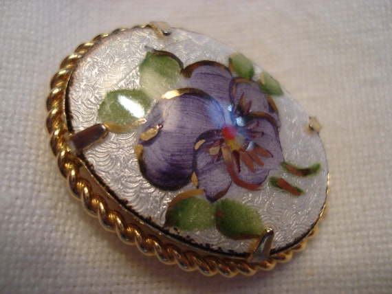 AJ Gold Filled Guilloche Pansy Brooch and Scandin… - image 6