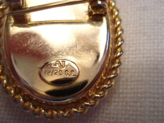 AJ Gold Filled Guilloche Pansy Brooch and Scandin… - image 8