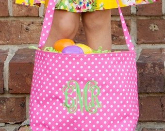 Pink Polka Dot Tote, Monogrammed Easter Tote, Easter Bag, Monogrammed Polka Dot, Easter Bucket, Monogrammed Easter Bucket