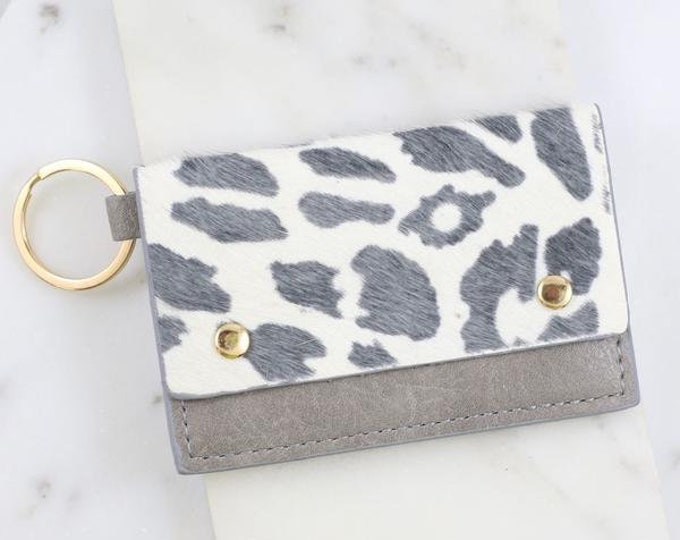 Grey Animal Print Wallet Keychain