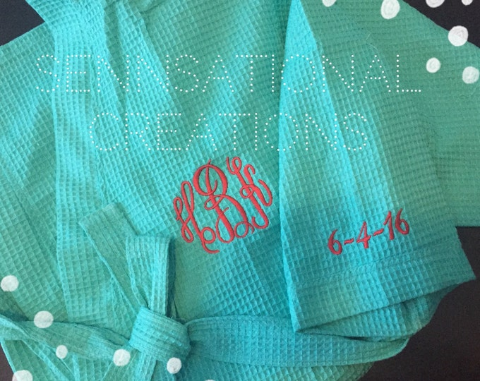 Wedding Date Robe, Monogrammed Robe, Monogrammed Wedding, Bridal Gift, Gift for the Bride