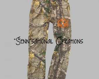 Realtree Camouflage Pants, Camo Pajama Pants, Monogrammed Camo Pants, Camouflage Pajamas, Gifts for Her, Camo for Him, Flannel Camouflage