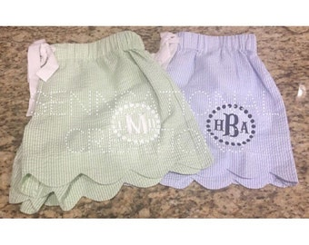 Monogrammed Seersucker Scalloped Shorts, Striped Shorts, Lounge Shorts, Bride Gift, Pajama Shorts