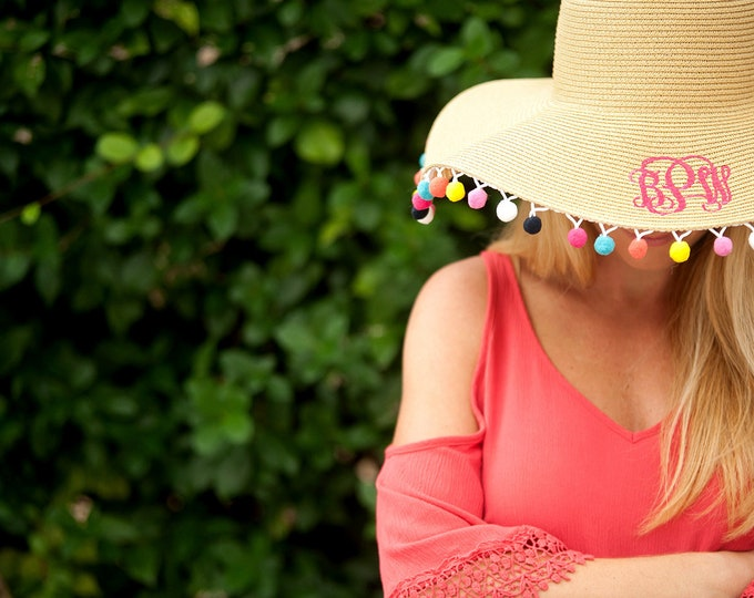 Wide Brimmed Pom-Pom Floppy Hat