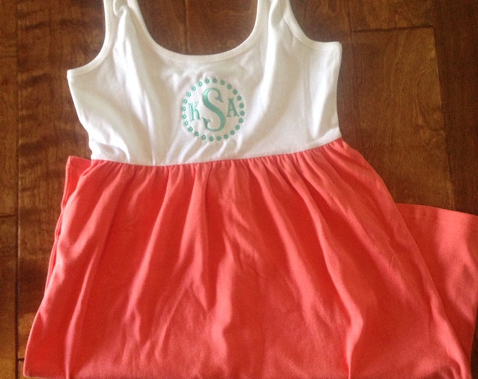Monogrammed Knit Dress, Sun Dress, Tank Dress, Cover Up