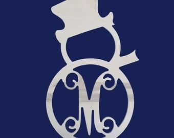 Monogrammed Snowman, Snowman, Wooden Snowman, Door Monogram, Wooden Monogram, Winter Monogram