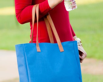 Royal Blue Tote, Gameday Tote, Monogrammed Tote Bag, Teacher Bag, Work Tote Bag, Travel Bag, Monogrammed Purse, Royal Blue Purse