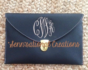 Monogrammed Clutch, Monogrammed Leather-Like Clutch, Personalized Clutch, Crossbody Clutch, Bridesmaid Gift