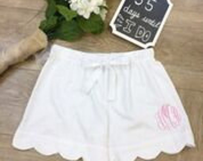 White Seersucker Scalloped Shorts