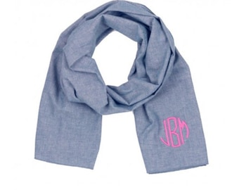 Chambray Scarf, Monogrammed Scarf, Monogrammed Chambray Scarf, Bridal Party Gift, Gifts For Her, Monogrammed Stocking Stuffer
