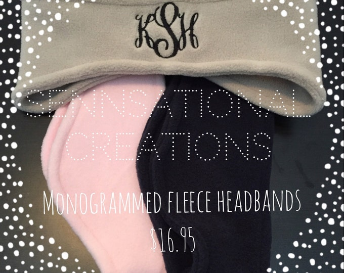 Monogrammed Ear Warmers, Monogrammed Headband, Fleece Headband