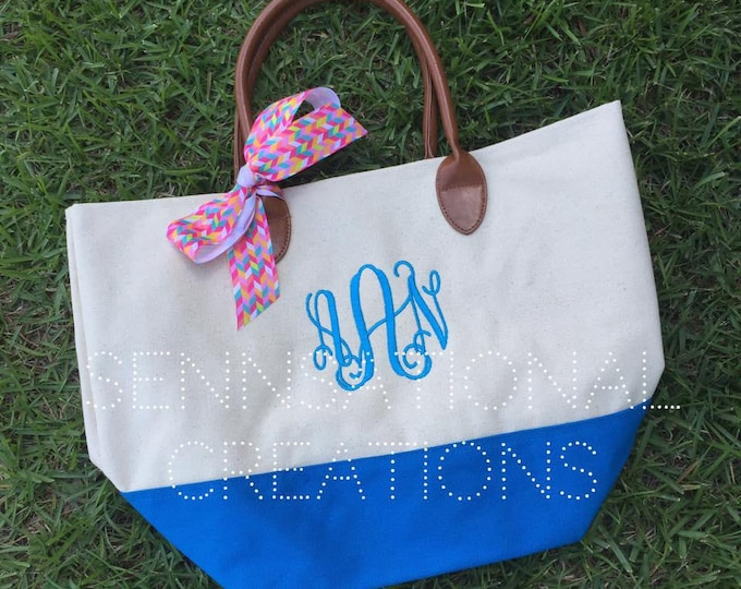 Electric Blue Bottom Canvas Tote
