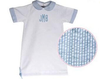 Seersucker Baby Day Gown,  Newborn Gown, Bringing Baby Home Outfit, Seersucker Gown, Baby Outfit