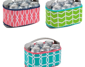 6 pack cooler, Monogrammed Cooler Case, Cooler Carrier, Six Pack Can Cooler Cover, Bridesmaids Gifts