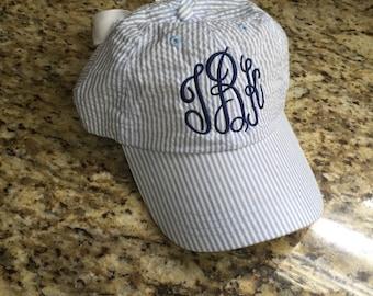Monogrammed Seersucker Hat, Bow Back Baseball Hat, Monogrammed Cap