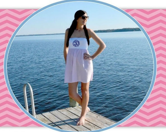 Seersucker Cover Up, Monogrammed Cover Up, Monogrammed Seersucker Cover Up, Bridal Wear, Beach Cover Up, Strapless Cover Up