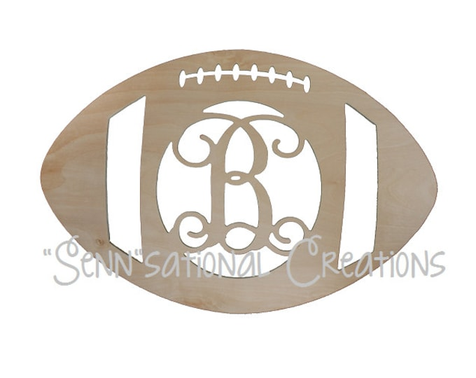 Monogrammed Wooden Football, Monogram Football, Football Door Hanger, Football Wreath, Door Decor, Fall Decor, Football, Football Season