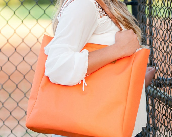 Orange Tote, Gameday Tote, Monogrammed Tote Bag, Teacher Bag, Work Tote Bag, Travel Bag, Monogrammed Purse, Orange Purse