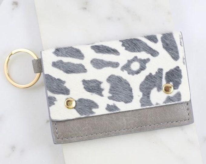 Grey Animal Print Wallet Keychain