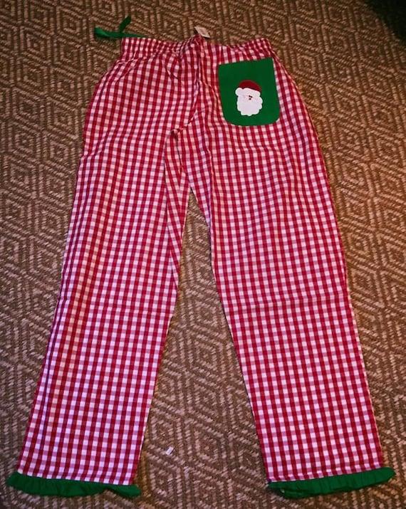 Christmas Pajama Pants.Santa Pajama Pants Christmas Pjs Christmas Pajamas Gingham Lounge Pants Gingham Pjs Buffalo Check