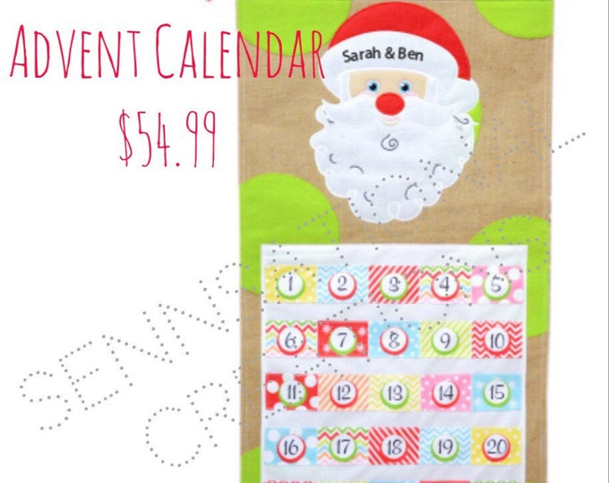 SALE:  Santa Personalized Advent Calendar, Monogrammed Advent Calendar