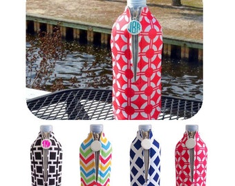 Monogrammed Bottle Wrap, Beach Gear, Drink Cover, Cover, Insulated Beverage Holder, Monogrammed Gift, Bachelorette Party Gift, Party Gift
