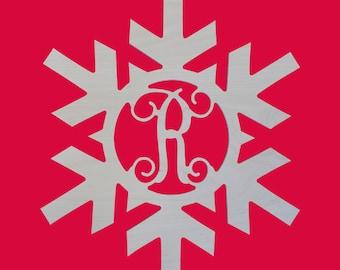 Monogrammed Snowflake, Snowflake, Wooden Snowflake, Snowflake Door Decor, Wooden Door Decor, Snowflake Letter