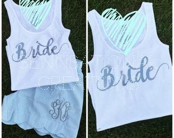 Bridal Set, Gift for the Bride, Bride Tank, Bride Shorts, Monogrammed Bride, Bridal Party