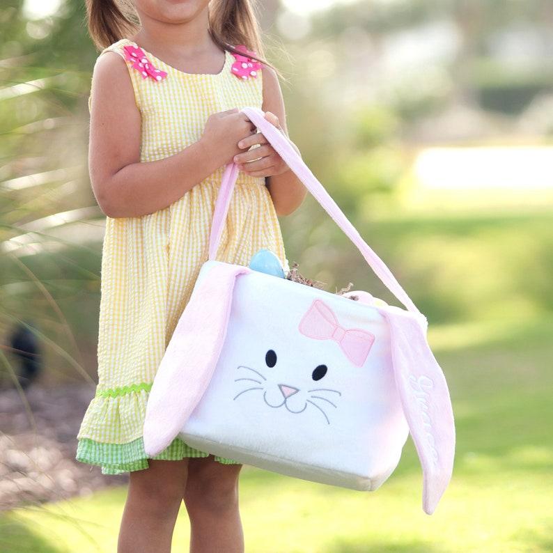 Easter Basket Chick Easter Bag Monogrammed Easter Bag Pink Bunny Easter Bag Blue Bunny Monogrammed Easter Bunny Bag Flower Bag