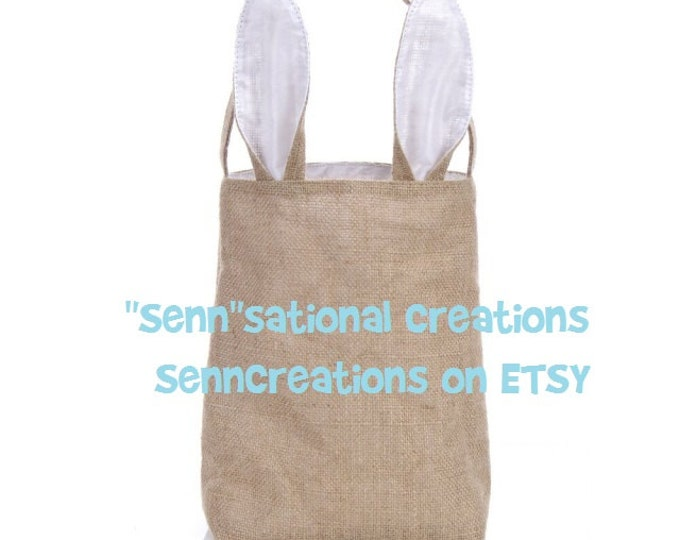 Easter Basket, Bunny Ears Basket, Easter Tote, Monogrammed Bag, Easter Item, Easter Gift, Spring Bag, Spring Tote