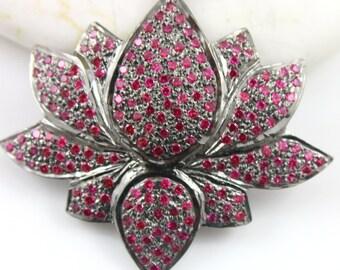 Flower Pendant, Ruby Flower, Ruby Flower Pendant, Ruby Lotus Charm, Gemstone Lotus Flower, Gemstone Connector, Oxidized Silver. (DCH/CR/489)