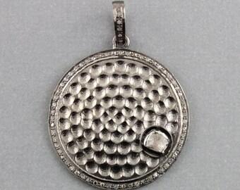 Pave Diamond Pendant, Pave Round Pendant, Pavé  hammered Pendant w/ Rose Cut Diamond, Diamond Hammered Circle, (DCH/PDT/1134)