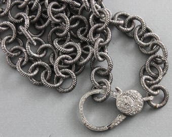 Pave Diamond Lobster, Pendant Chain,  --- 3 FINISHES with Custom Length, Factory soldered links w/ Pave Diamond Clasp, (PAV/CHN/12)