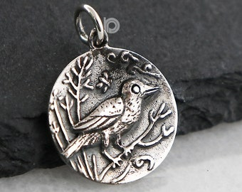 a1efa510f Sterling Silver Artisan Charm, Singing Bird on Forest Tree Charm, Song Bird  Charm, Sterling Silver Charm, Singing Bird Charm, (SS/CH6/CR71)