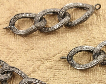 Pave Diamond Link, Pave Bracelet Link, diamond Bracelet Connector, Pave Bracelet Connector, Pave Chain Link, Oxidized Silver.  (DCH/CR288)