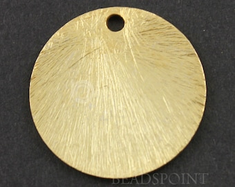 24K Gold Vermeil over Brush Sterling Silver Flat Round Disc Component, 20mm,1 Piece, Sold INDIVIDUALLY, Buy as many you need,(VM/6577/20)