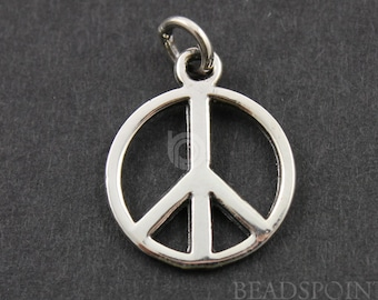 Sterling Silver, Circle W/ Peace Charm / Pendant with Open Jump Ring, Sweet Jewelry Component, 1 Piece, (SS/CH8/CR21)