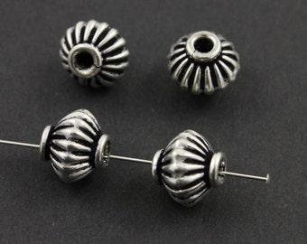 Handmade Bali Saucer Bead, Oxidized Silver, Ornate Spacer Bead, Bali Spacer Beads, Bali Saucer Spacer Beads, 10x10 mm, 1 Piece (BA-5001)