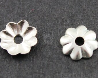 Sterling Silver 4.5 mm Bead Cap with 1.1 mm Hole,1 Pack of 50 Pieces,(SS/1215/4.5)