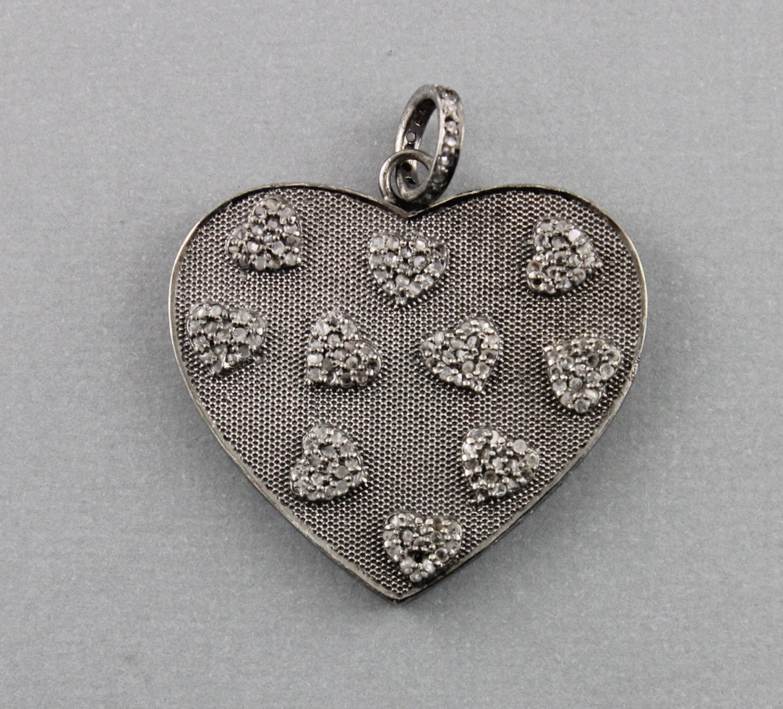 Pave Diamond Pendant Pave Diamond Heart Charm Pave Heart