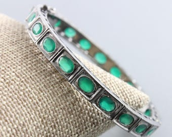 Pave Emerald Bangles, Emerald Bangles, 925 Sterling Silver Emerald Bangles, Gemstone Bangles (DBG-068)