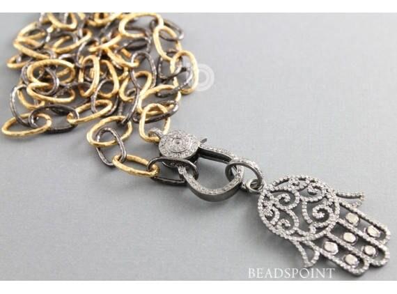 Pavé de diamant Hamsa pendentif, pendentif fantaisie pavé, pavé Hamsa Hamsa pendentif, pendentif Hamsa Hamsa diamant, pendentif diamant de taille Rose, (DP-1576) bfdc59
