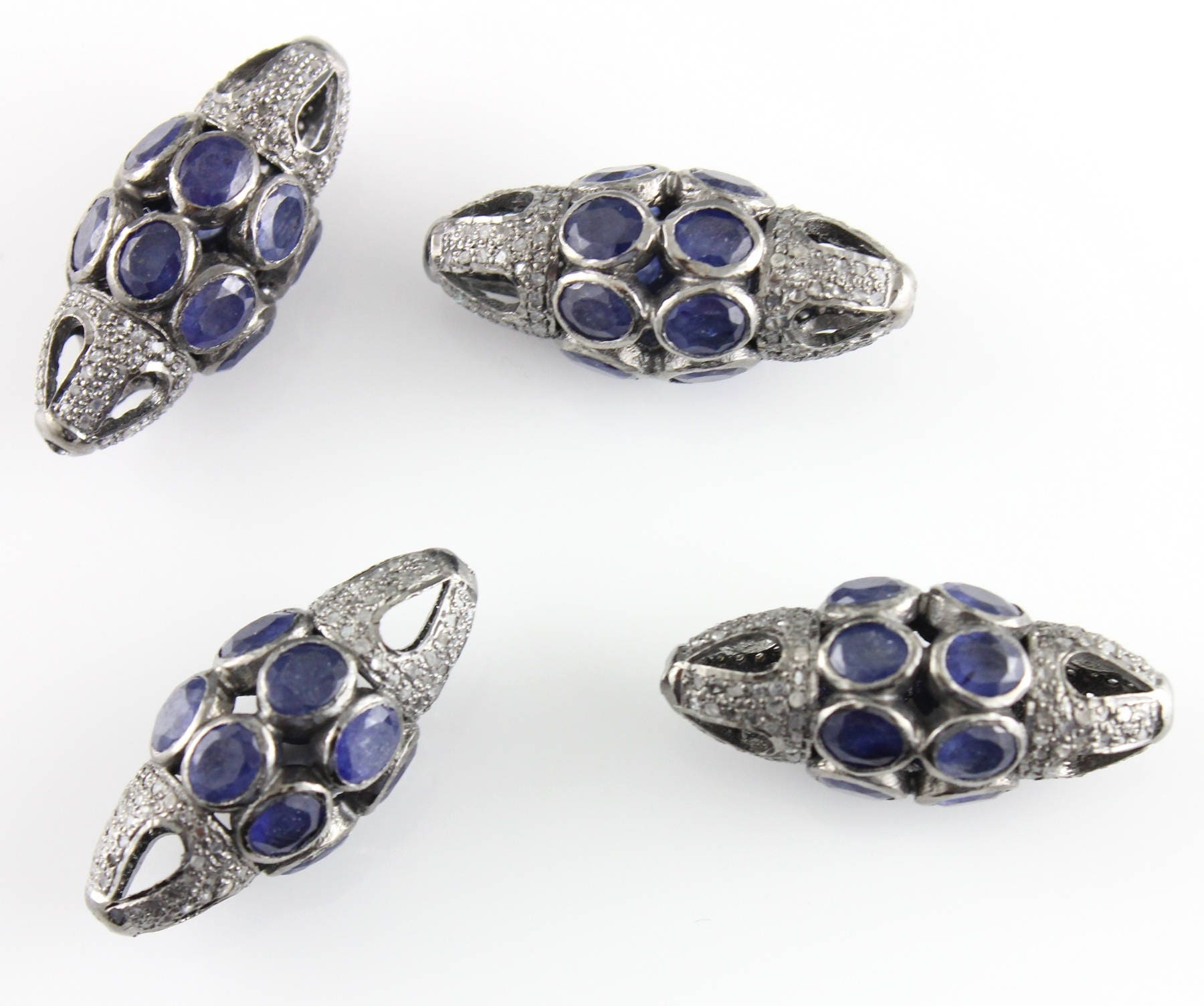 Beaded Diamond: Pave Diamond Bead Pave Diamond & Sapphire Beads Nugget