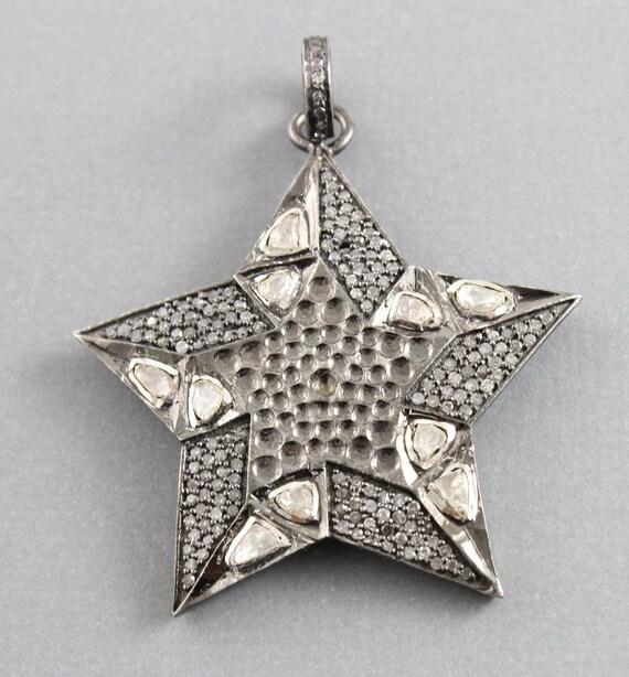Pavé de pendentif, pavé de diamants, pendentif étoile étoile pendentif pavé, Pavé et Rosecut Star, Diamond Star w / Polki pendentif, connecteurs en pavé. (PATRIMOINE/HAP/1073) d1384c